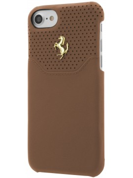 COQUE RIGIDE FERRARI CUIR CAMEL MICRO PERFORÉ - IPHONE 7