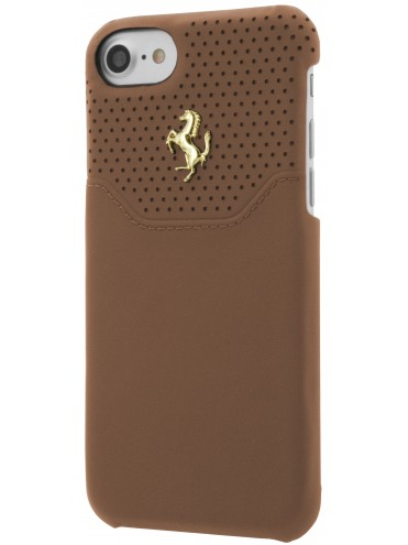 coque rigide ferrari cuir camel micro perfore iphone 7
