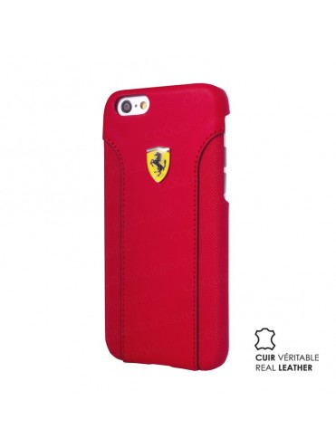 COQUE RIGIDE FERRARI SCUDERIA CUIR VERITABLE ROUGE