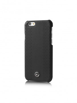 COQUE RIGIDE NOIRE MERCEDES EN CUIR VERITABLE PERFOREE