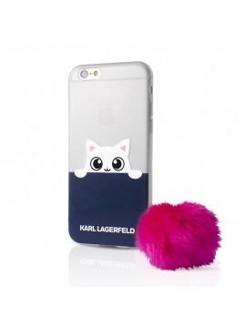 Coque souple Karl Lagerfeld pink pompon